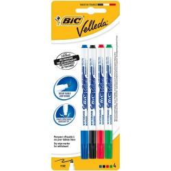 Set 4 marker whiteboard varf subtire Bic  Velleda