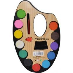 Acuarele 12 culori paleta mica cu pensula