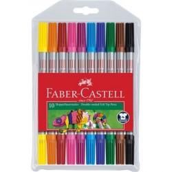 Carioca 10 culori, 2 capete Faber-Castell