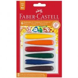 Creioane cerate 6 culori model degete Faber-Castell