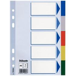 Separator plastic A5, 5 culori Esselte