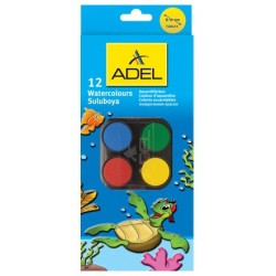 Acuarele 12 culori 30mm cu pensula Adel