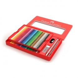 Creioane colorate Acuarela 48 culori si 4 accesorii Cutie Faber-Castell