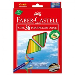 Creioane colorate triunghiulare 36 culori + ascutitoare Eco Faber-Castell