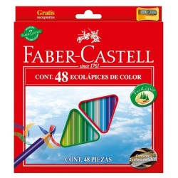 Creioane colorate triunghiulare 48 culori + ascutitoare Eco Faber-Castell