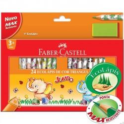 Creioane colorate 24 culori + ascutitoare Eco Jumbo Faber-Castell