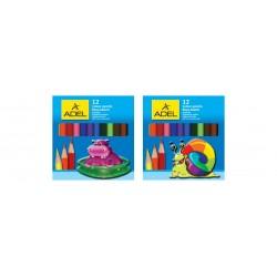 Creioane colorate 12 culori scurte Adel