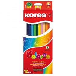 Creioane colorate 12 culori triunghiulare + ascutitoare Kores