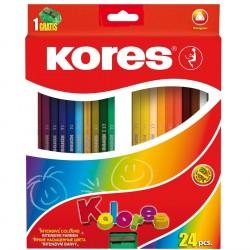 Creioane colorate 24 culori triunghiulare + ascutitoare Kores