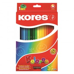 Creioane colorate 36 culori triunghiulare + ascutitoare Kores