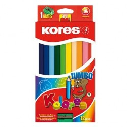 Creioane colorate 12 culori + ascutitoare triunghiulare Jumbo Kores