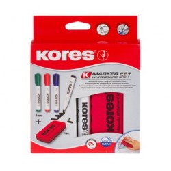 Marker whiteboard 4/set cu burete margnetic Kores