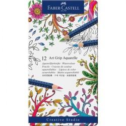 Creioane colorate 12 culori Aquarelle Art Grip Faber-Castell