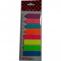 Index adeziv plastic 45x12mm cu rigla 8 culori neon